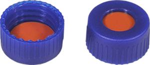 Screw closure (bonded), N 9, PP, blue, center hole, Red Rubber/TEF, 1,0 mm