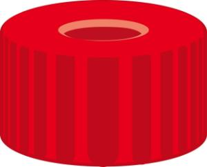 Screw closure, N 9, PP, red, center hole, PTFE red/Silicone white/PTFE red,1,0 mm