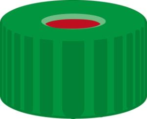 Screw closure, N 9, PP, green, center hole, PTFE red/Silicone/PTFE red,1,0 mm