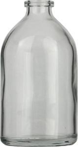 Crimp neck vial, N 20, 51,6×94,5 mm,100,0 ml,flat bott.,flat neck, clear,3rd cl.