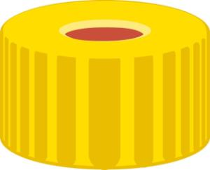Screw closure, N 9, PP, yellow, center hole, Red Rubber/FEP colourless, 1,0 mm
