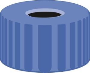Screw closure, N 9, PP, blue, center hole, no liner