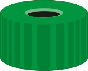 Screw closure, N 9, PP, green, center hole, no liner