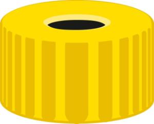 Screw closure, N 9, PP, yellow, center hole, no liner