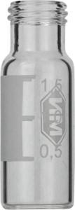 Screw neck vial, N 9, 11,6×32,0 mm, 1,5 ml, label, flat bottom, clear, silanized