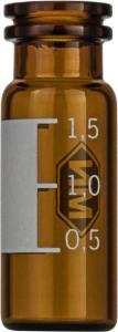 Snap ring/crimp neck vial, N 11, 11,6×32,0 mm, 1,5 ml, label, flat bottom, amber