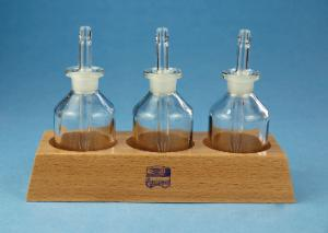 Staining racks, wood, with staining bottles