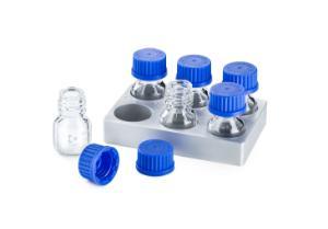DURAN® ANSI/SLAS Microplate holder, for 2x3 10 ml GL 25 laboratory bottles, aluminium