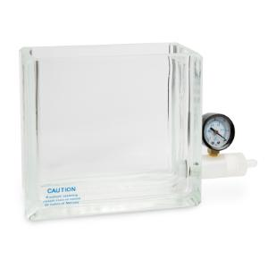 Glass vacuum chamber with gauge and valve for 6 or 12 port