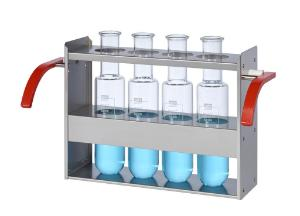 Frame for 4 reaction vessels of 500 ml